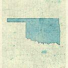 Oklahoma State Map Blue Vintage by HubertRoguski