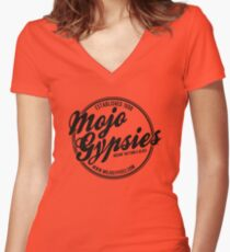 Gold t-shirt with Mojo Gypsies Script Logo Women's Fitted V-Neck T-Shirt