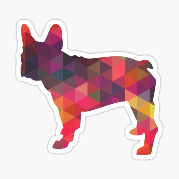 French Bulldog Dog Breed Colorful Geometric Pattern Silhouette - Pink Sticker