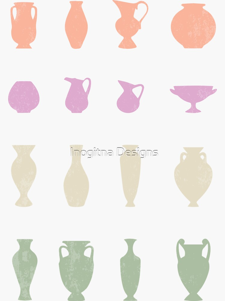Terracotta Greek Vases Silhouettes Ancient Greece Pottery by inogitna