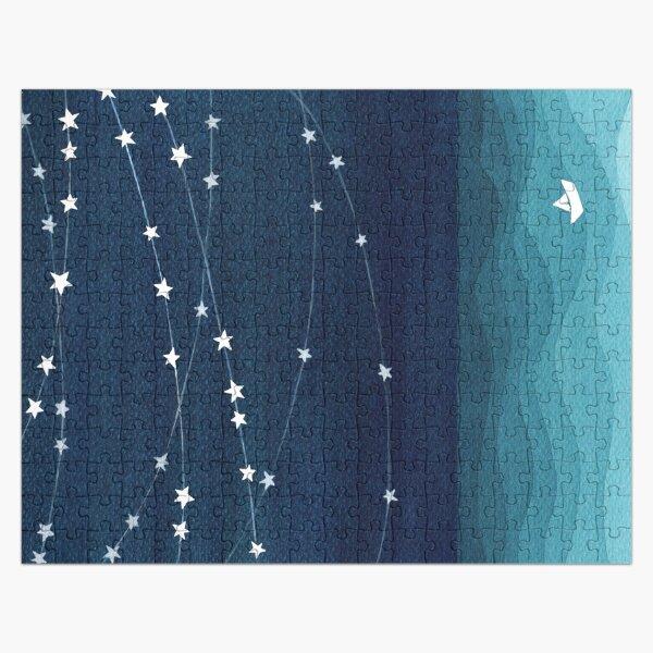 Garland of stars, teal ocean Jigsaw Puzzle
