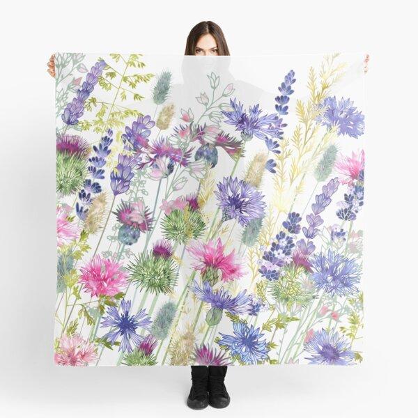Flower Meadow - Cornflowers, Thistles & Lavender Scarf