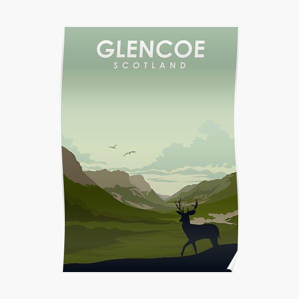 Glencoe Scotland vintage travel poster art Poster