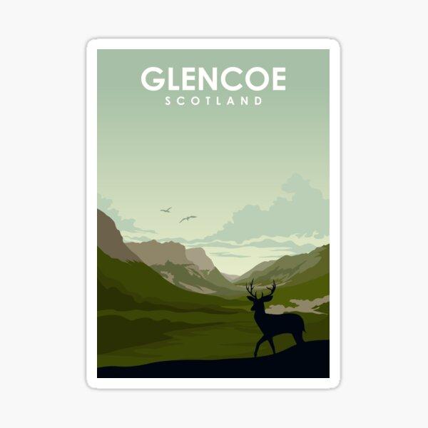 Glencoe Scotland vintage travel poster art Sticker