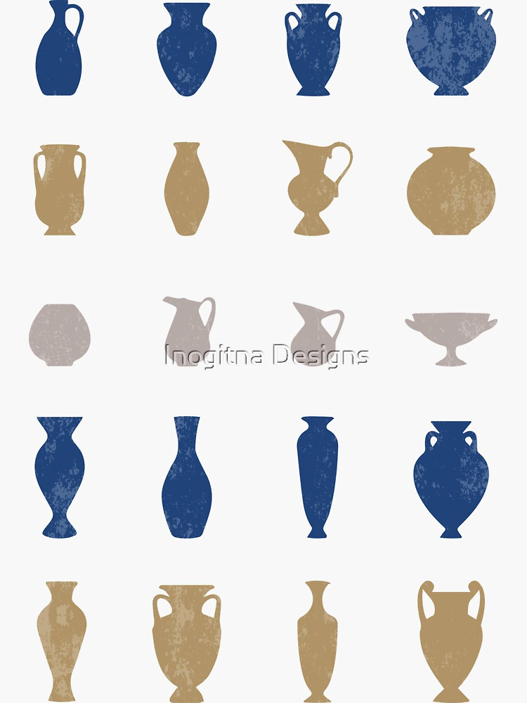 Blue and Gold Ancient Greek Pottery Vases Silhouettes by inogitna