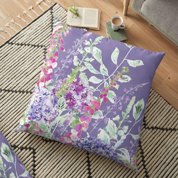Pink Foxgloves & Hydrangeas Floor Pillow