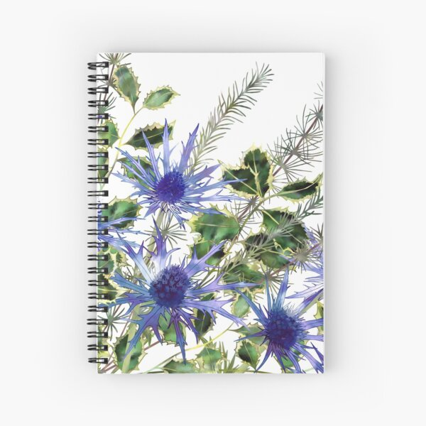 Sea Holly Flowers, Holly Leaves & Pine Needles Spiral Notebook