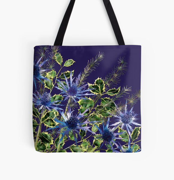 Sea Holly, Holly & Pine Needles All Over Print Tote Bag