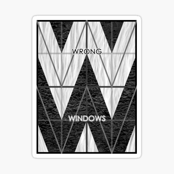 Wrong Windows Double-W Logo Variant #6 (3x4 B/W Grid) Sticker