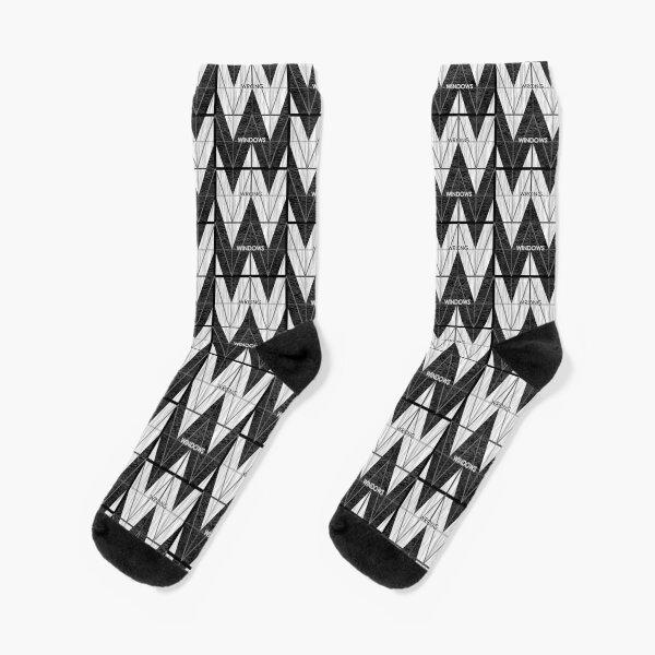 Wrong Windows Double-W Logo Variant #6 (3x4 B/W Grid) Socks