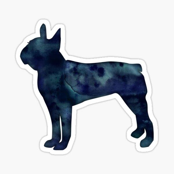 Boston Terrier Black Watercolor Silhouette Sticker