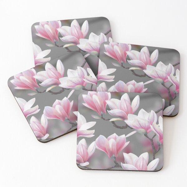 Pink Magnolia Blossom Coasters (Set of 4)