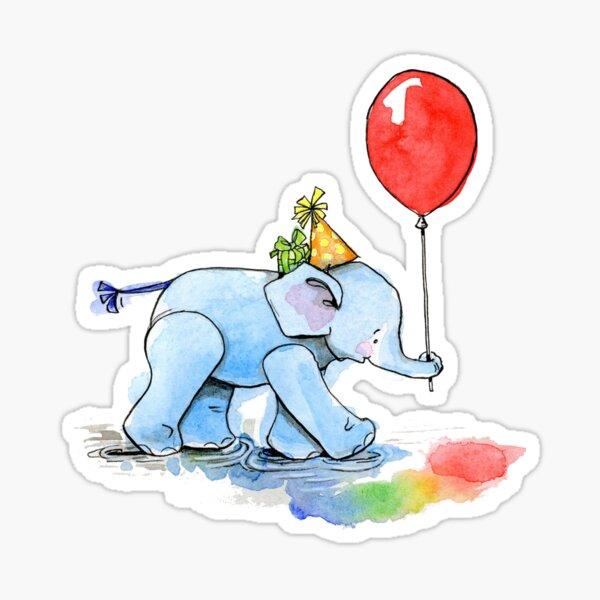 Birthday Elephant - by Amy Preveza Sticker
