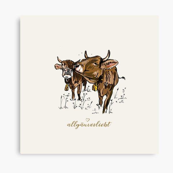 allgäuverliebt – Zwei Kühe - Allgäuer Braunvieh - Milchkuh Leinwanddruck