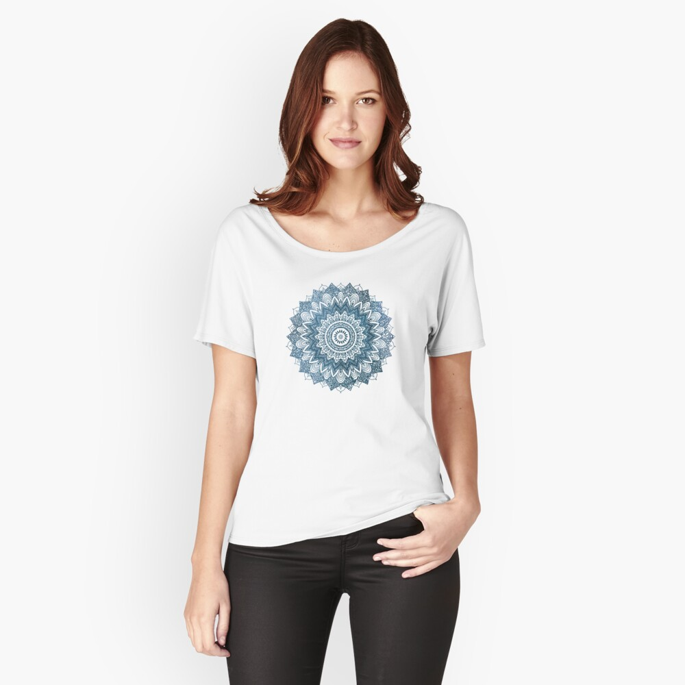 BOHOCHIC MANDALA IN BLUE Relaxed Fit T-Shirt