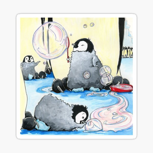 Penguins Blowing Bubbles - by Amy Preveza Sticker