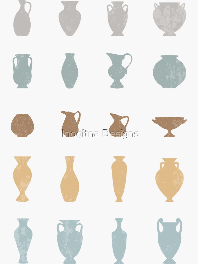 Pastel Ancient Greece Pottery Vases Silhouettes by inogitna