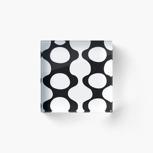 Courbes et cercles noir et blanc Bloc acrylique