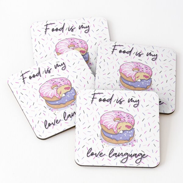 Food is my love language Donut pattern pink, purple, confetti background, jelly filled sprinkles, WHITE BACKGROUND Coasters (Set of 4)