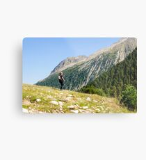Female hiker in Zillertal alps, Tirol, Austria Model release available  Metal Print
