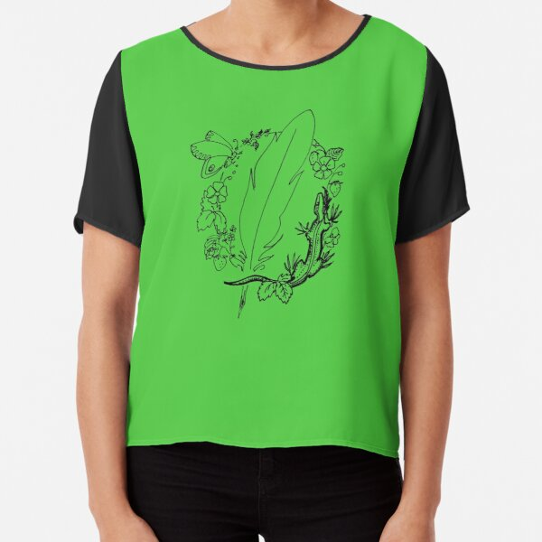 Quill And Lizard In Flower Wreath - Vignette Chiffon Top