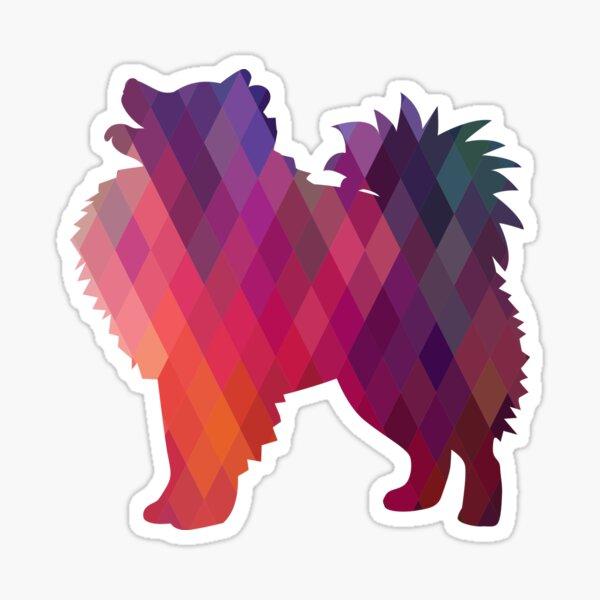American Eskimo Dog Breed Colorful Geometric Pattern Silhouette - Pink Sticker