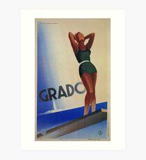 Grado Italy pin up Vintage Italian travel advertising Art Print