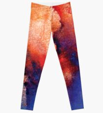 Brigh abstract watercolor spills galaxy Leggings