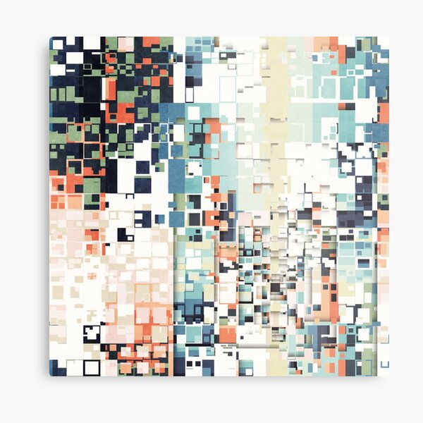 Abstract Squares Pattern Metal Print