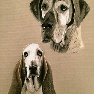 Dolly Parton the Basset & Tigra the Great Dane by micheleashby