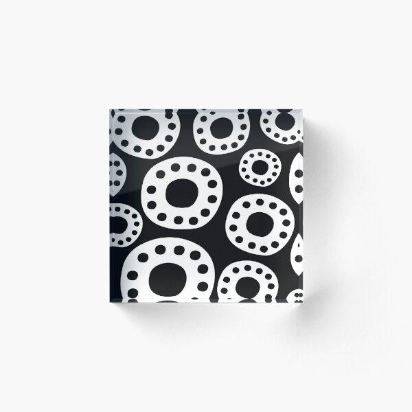 Engrenages noir et blanc Bloc acrylique