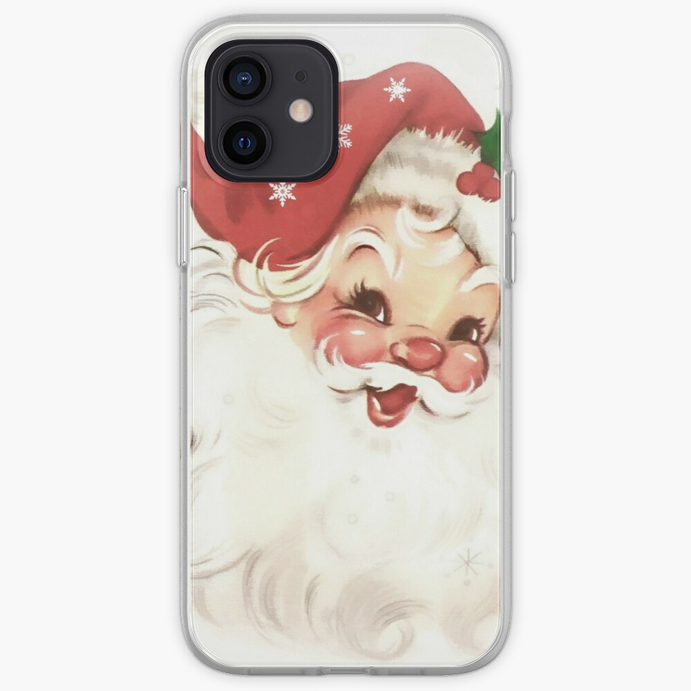 red retro vintage santa iPhone Case & Cover