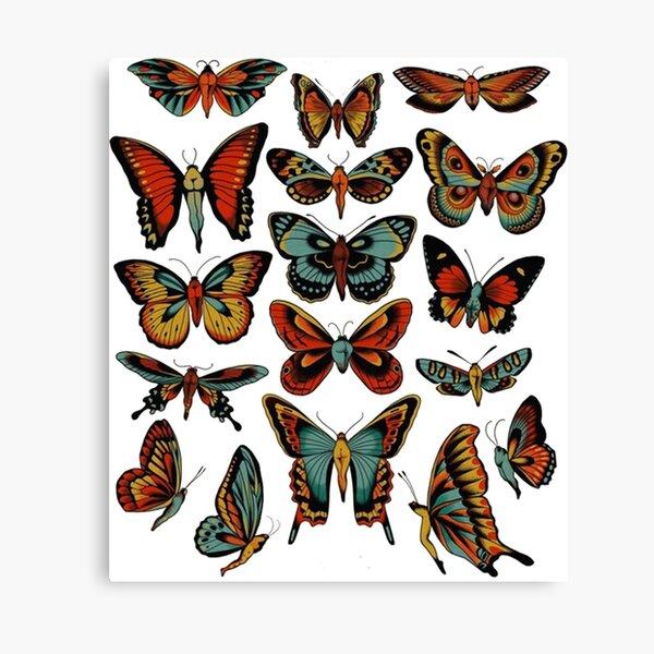 Butterflies traditional tattoo flash Comforter Canvas Print