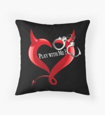 Devil Heart and Handcuffs - White Text, Black background. Throw Pillow