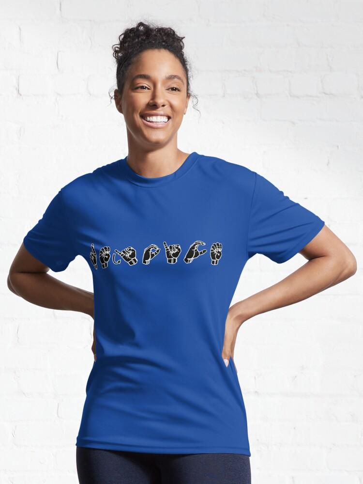 Alternate view of REJOICE ASL Sign Language Design Active T-Shirt