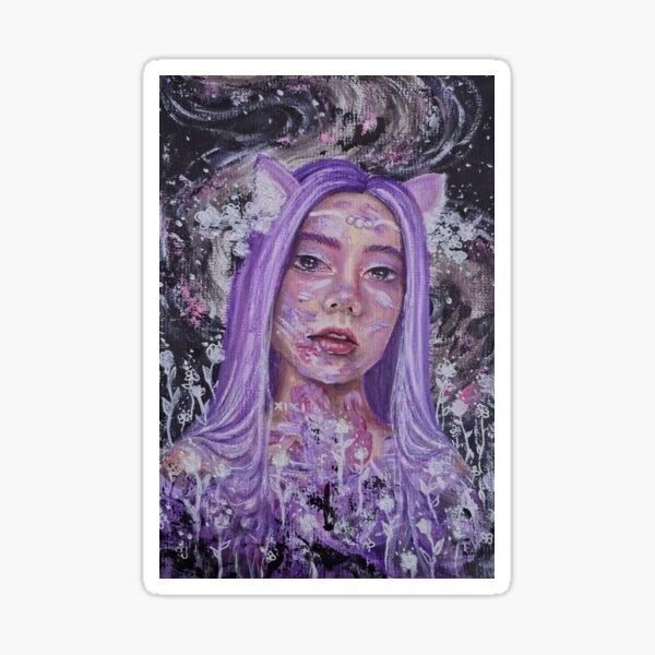 Purple, ethereal portrait (cat ears) Sticker