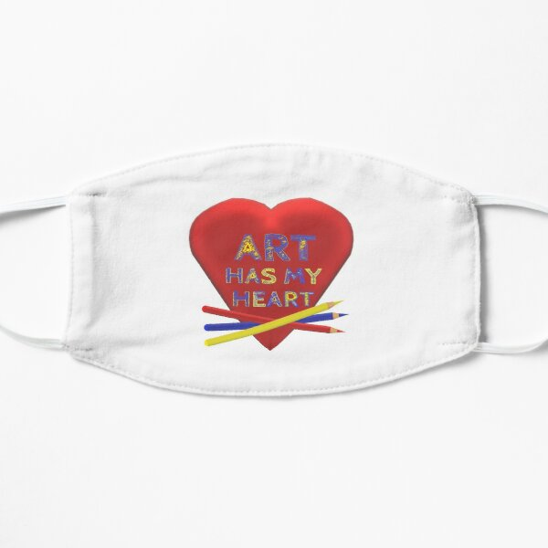 Art Has My Heart with Artist Pencils (White) Flat Mask