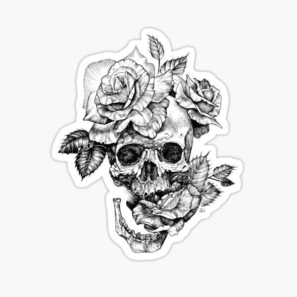 Schädel und Rosen Sticker