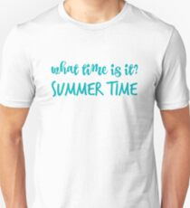 What time is it? in blue T-Shirt