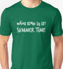 What time is it? in white Unisex T-Shirt