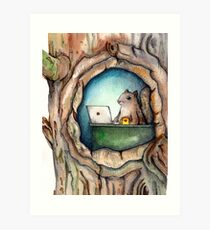 """Spreadsheet Squirrel"" - watercolor squirrel in tree, woodland creatures, squirrel painting, hipster squirrel Art Print"