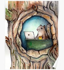 """Spreadsheet Squirrel"" - watercolor squirrel in tree, woodland creatures, squirrel painting, hipster squirrel Poster"