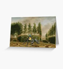 A Formal Garden with Dino Rider Greeting Card
