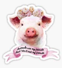 Pigs are my friends, and I don't eat my friends Sticker