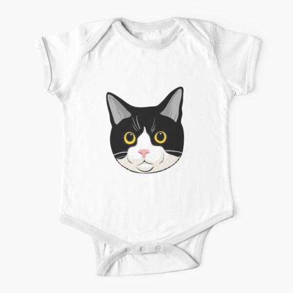 Cute Tuxedo Cat Short Sleeve Baby One-Piece