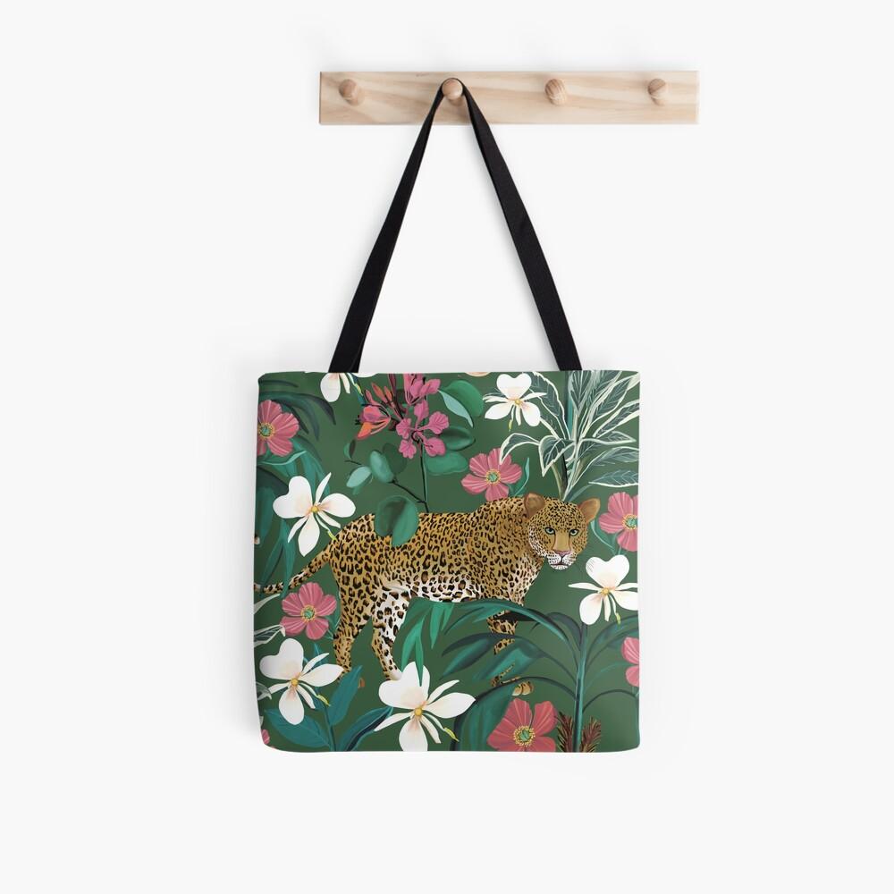Green Jungle Leopard  Tote Bag
