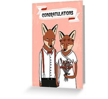 Wedding Foxes - Congratulations wedding foxes in love cute illustrated card Greeting Card
