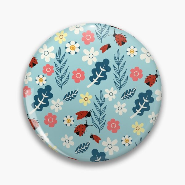 Spring meadow in bloom with ladybirds on blue background Pin