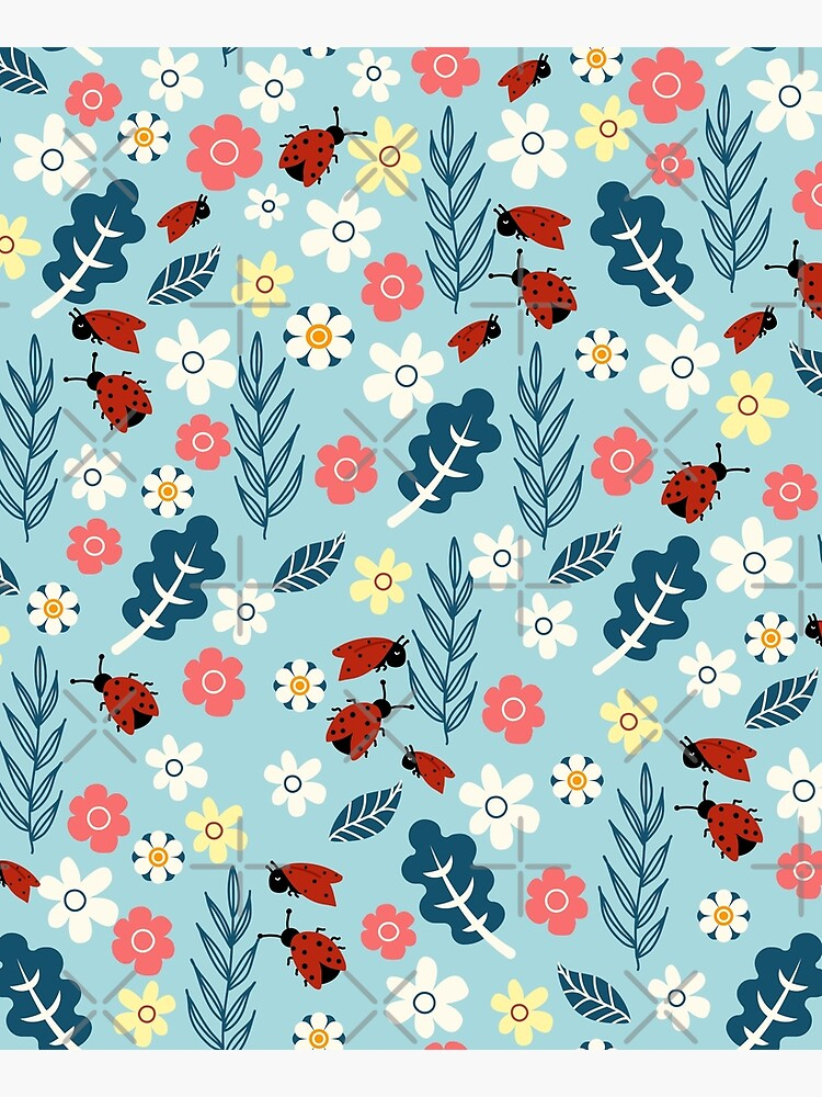 Spring meadow in bloom with ladybirds on blue background by Arch4Design