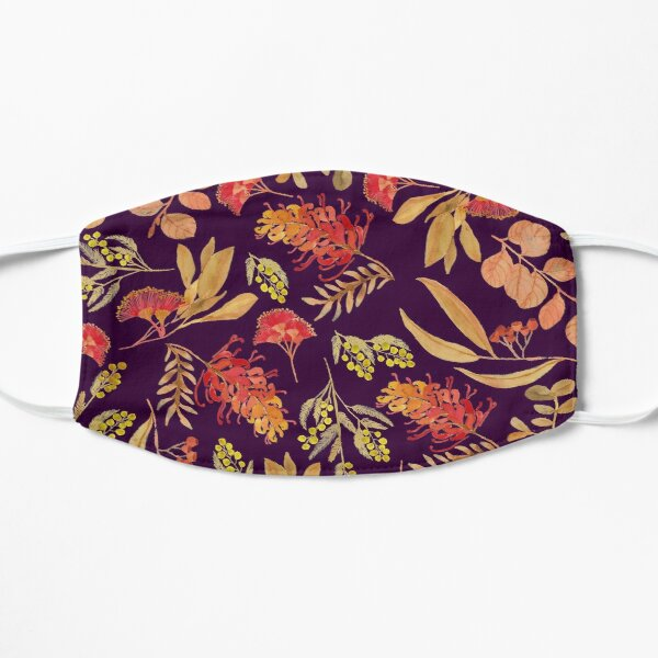 Australian Botanical Flowers and Foliage Golden Purple Flat Mask